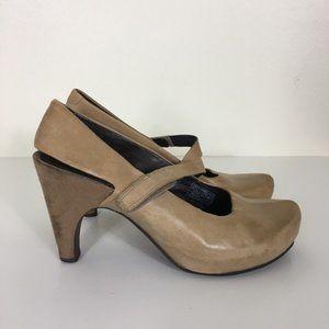 Tsubo Light Tan Leather Sling Back Mary Jane Shoes
